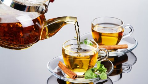 чай, корица, мята, пить