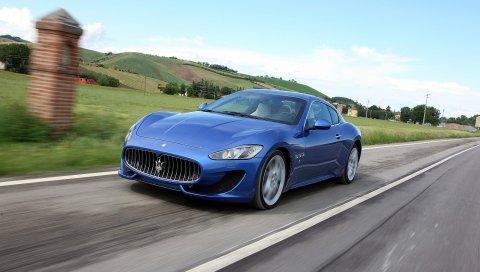 Maserati granturismo sport, 2014, синий, скорость