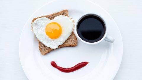 Завтрак, омлет, кофе, сердце, хлеб, кетчуп