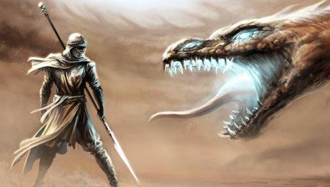 Воин, дракон, оружие, фантазия