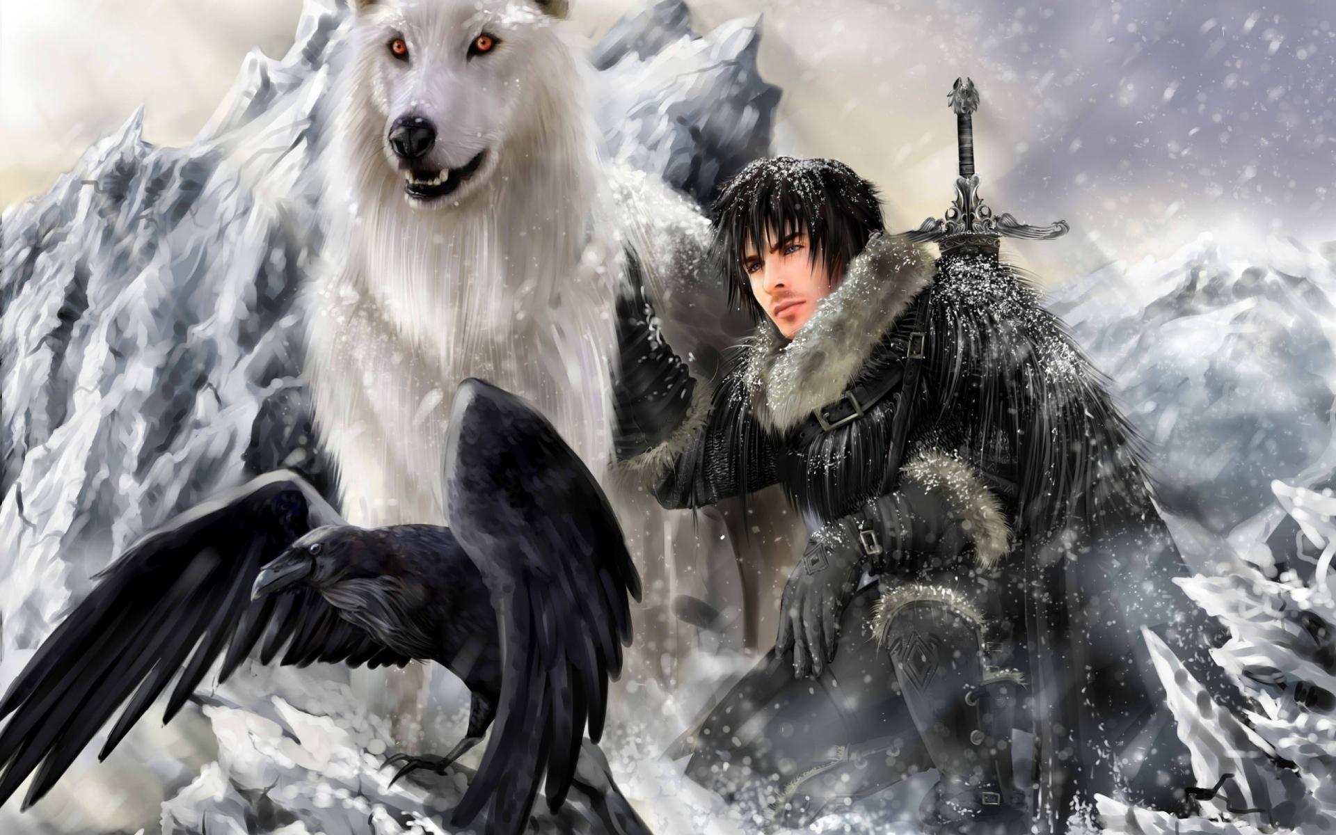 Картинки Игра тронов, песня льда и огня, снег снега, ворон фото и обои на рабочий стол