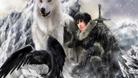 Игра тронов, песня льда и огня, снег снега, ворон
