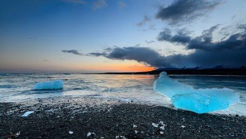 Iceland, Jokulsarlon, пляж, лед, побережье, небо