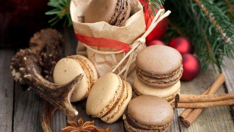 печенье, миндальное печенье, специи, корицу, анис, звезда анис, десерт, ветка