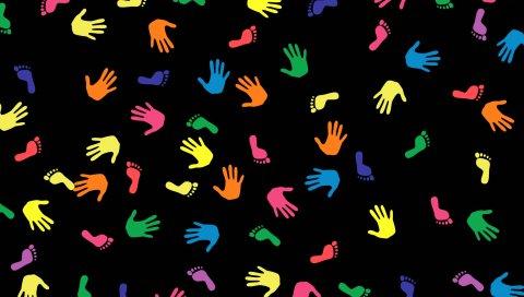 следы, разноцветные, руки, руки, ноги