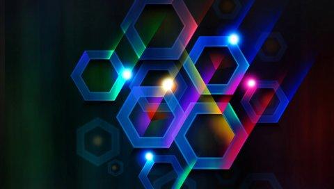 цвет, шестигранник, клетка, объем, линия, лучи