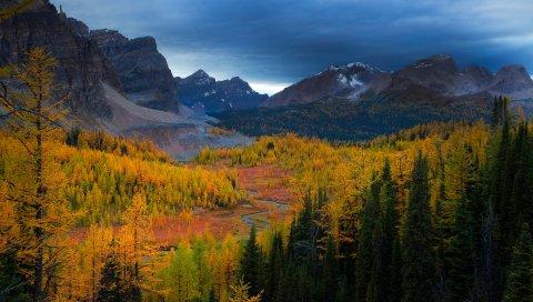 горы, природа, небо, деревья, вид, пейзаж