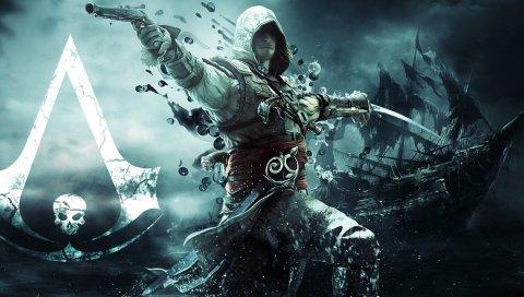 убийца, пират, Эдвардом kenuey, пистолет, меч, флаг, корабль