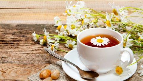 чай, блюдце, пить, ложка, кружка