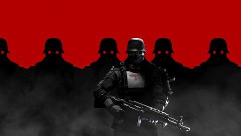 Wolfenstein нового порядка, солдаты, шлемы, оружие, свастика, немцы, маски,machinegames, Bethesda Softworks