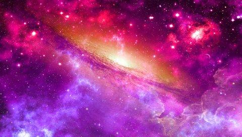 пространство, вселенная, туманность, звезды, свет