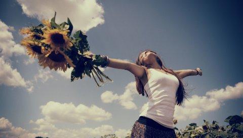 девушка, цветы, счастье, природа,поле