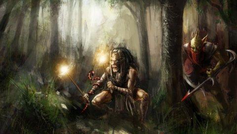 охотник заголовами, тень шаман , DOTA 2, искусство