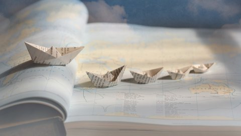 лодки, корабли, бумага, оригами