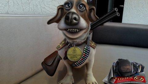 мультфильм, собака, погоны, пограничник, пистолет, значок, патронташ