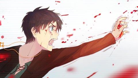 не shingeki нет Kyojin, Эрен егерь, кровь, белый, слезы