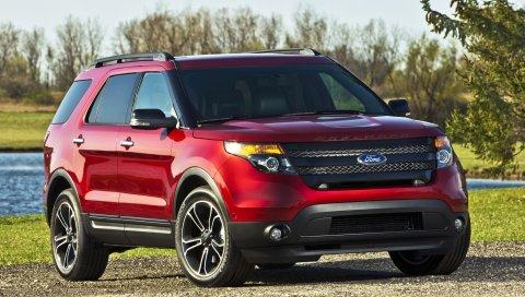 Ford, ford explorer, авто, красный