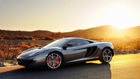 Mclaren, mp4-12c, спорт, автомобиль, суперкар, серый, закат