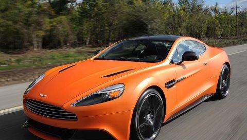 Aston martin, побеждает оранжевый, оранжевый, скорость, вид спереди