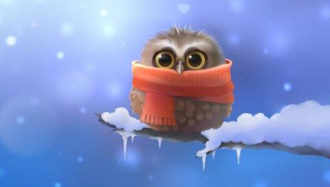 Искусство, апофисс, сова, сова, птица, шарф, ветка, снег, сердце