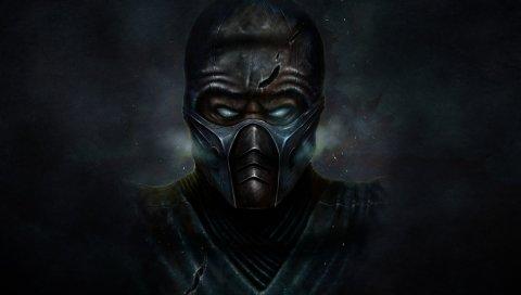 Смертный комбат, ниндзя, маска, суб-нуль, темный фон, холод