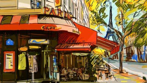 Франция, кафе, фотография, париж
