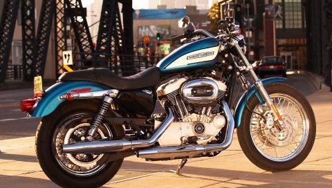 Harley davidson, город, дорога, мотоцикл