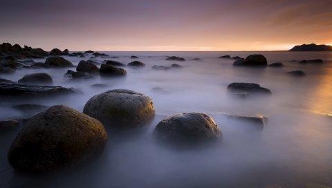 камни, море, побережье, туман, вода, небо