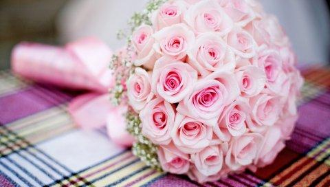 розовый, букет, розы, свадьба
