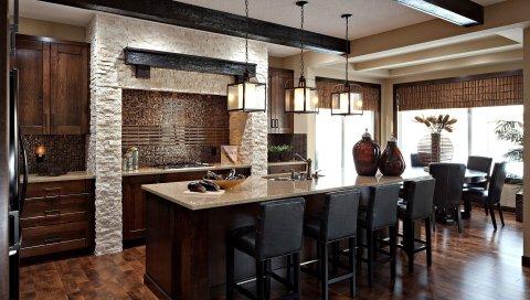 кухня, столовая комната, дизайн интерьера