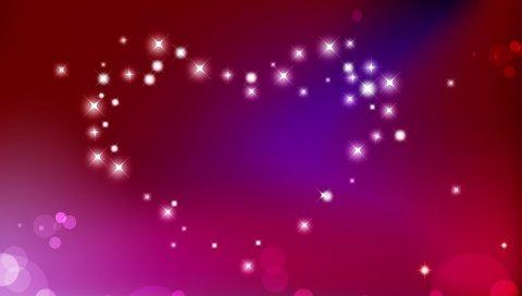 сердце, абстракция, яркий свет, блеск