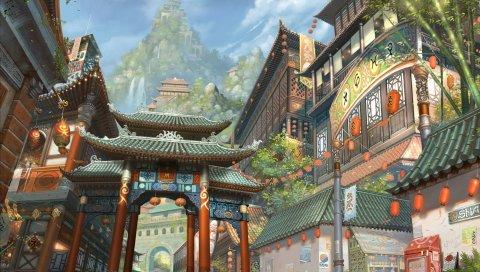 искусство, Азия, здание, гора, бамбук, фонари, водопады, город