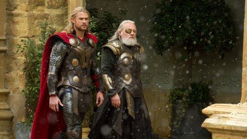 Thor темный мир, 2013, снег, ходить, главные герои
