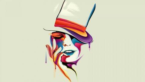 лицо, рисунок, вектор, краски, цвет, удивительный