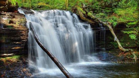 водопад, трава, мох, река