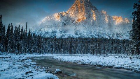 горы, река, снег, природа