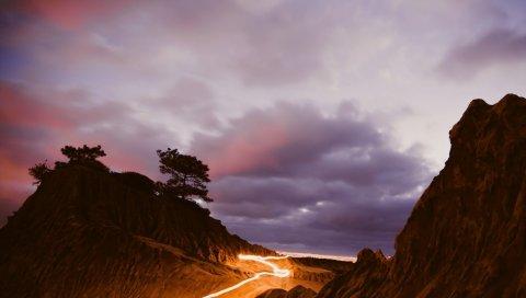 горы, свет, ночь