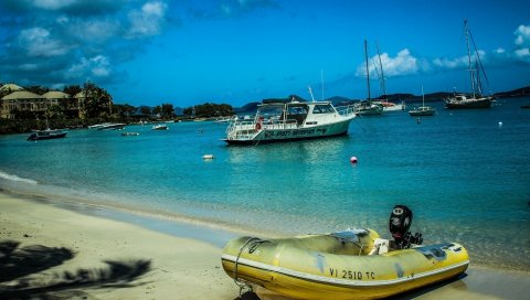 Виргинские острова, пляж, лодки, песок