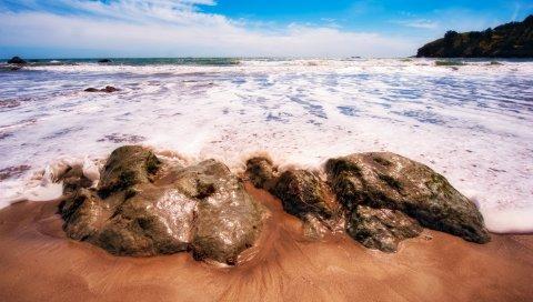 море, берег, пена, скалы, песчаные