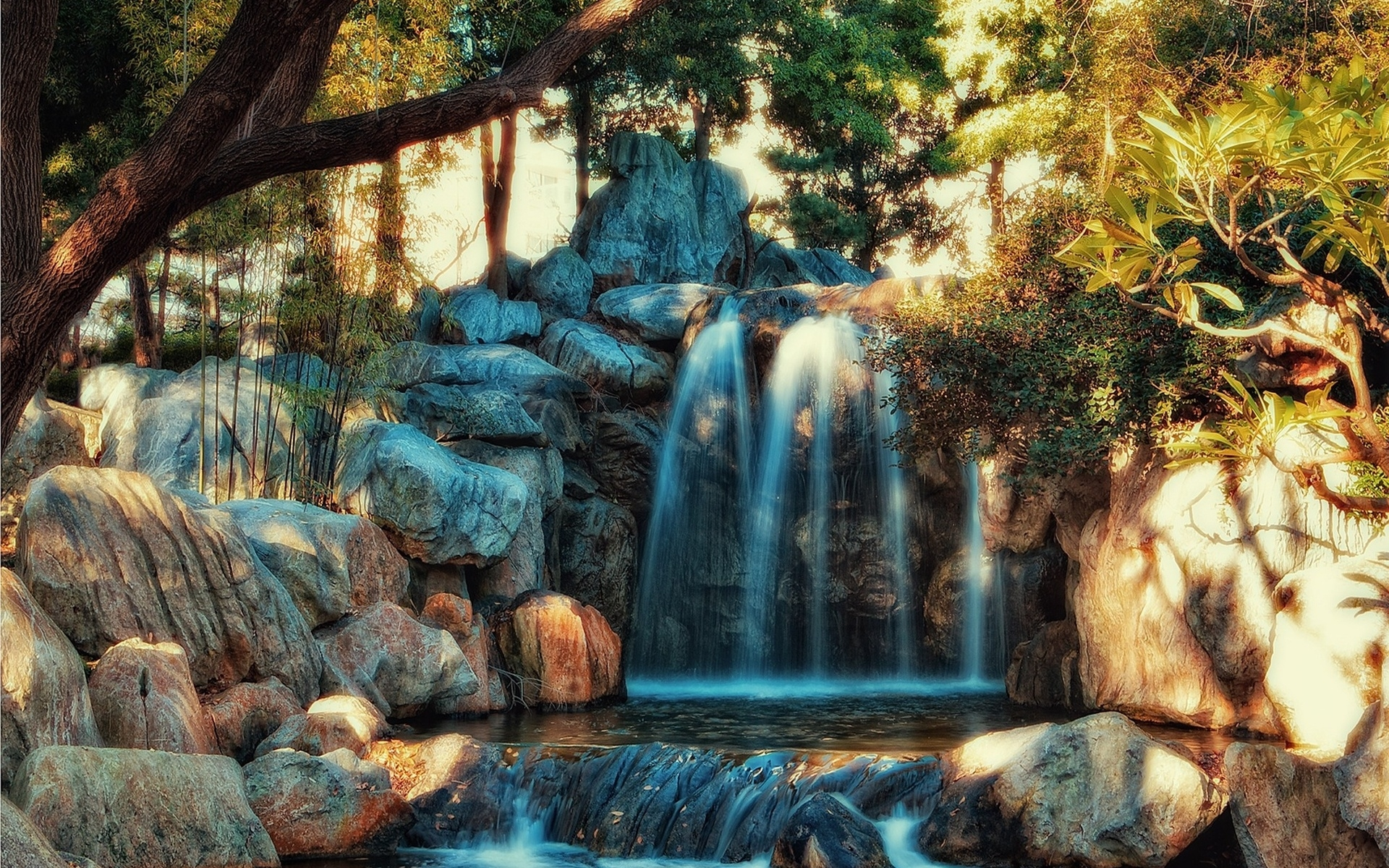 Картинки водопад, скалы, вода, река, HDR фото и обои на рабочий стол