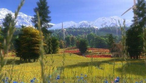 ветряные мельницы, цветы, деревья, трава, искусство, дом, лето, горы ,