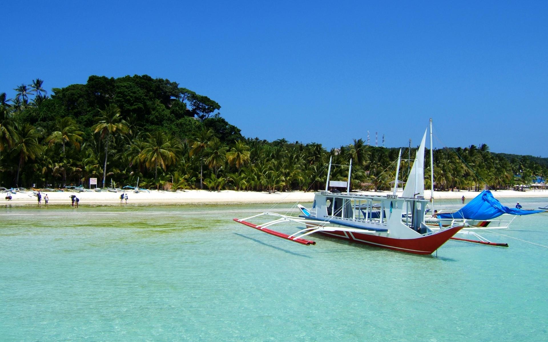 Картинки тропики, пляж, лодка, небо фото и обои на рабочий стол
