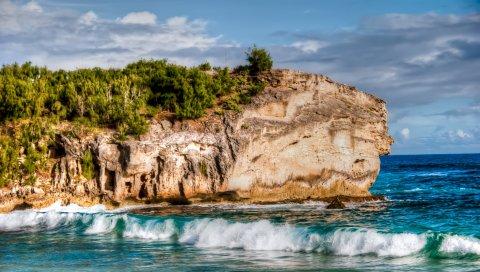 пляж, скалы, море, прибой