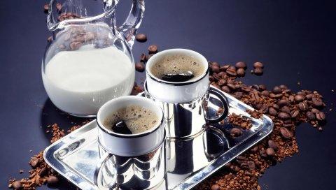 кофе, лоток, напитки, кофе взернах