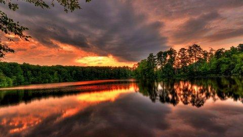 небо, озеро, деревья, закат