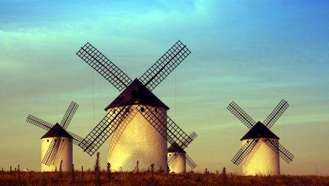 поля, небо, мельницы, четыре