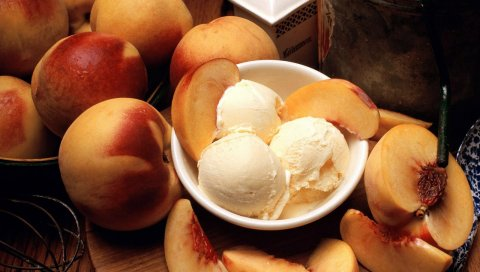 персиков, нектаринов, мороженое
