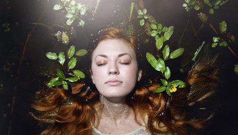 брюнетка, листья, вода, плавать, лицо