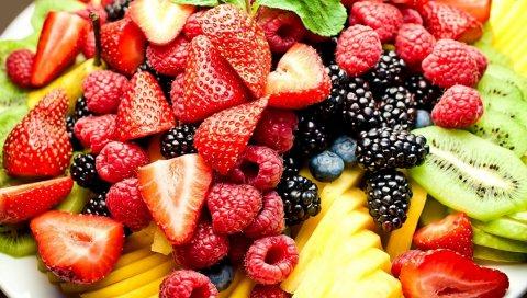 ягоды, фрукты, резки, листовой