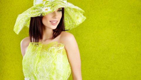 брюнетка, шляпа, девушка, платье